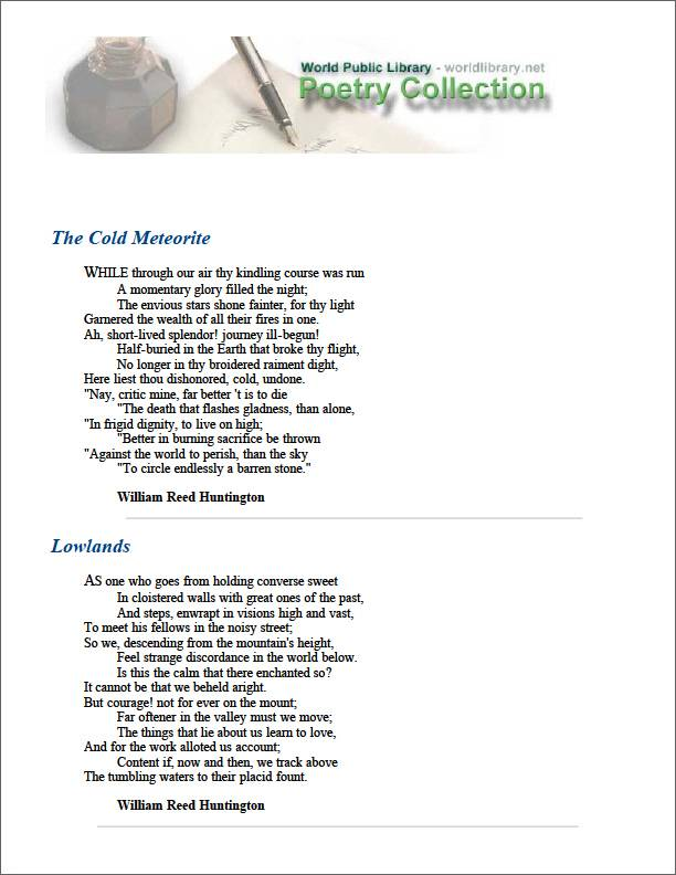 The Cold Meteorite by Huntington, William Reed