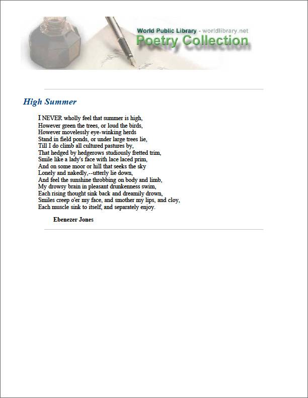 High Summer by Jones, Ebenezer