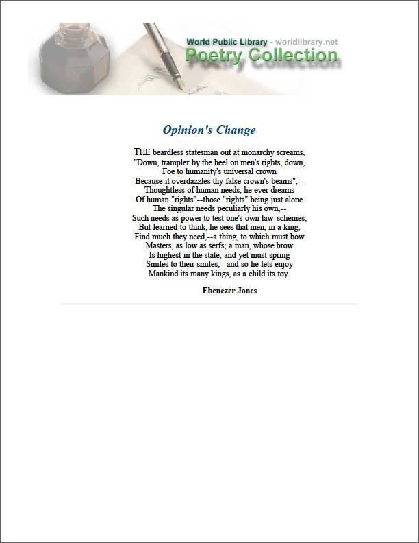 Opinion's Change by Jones, Ebenezer