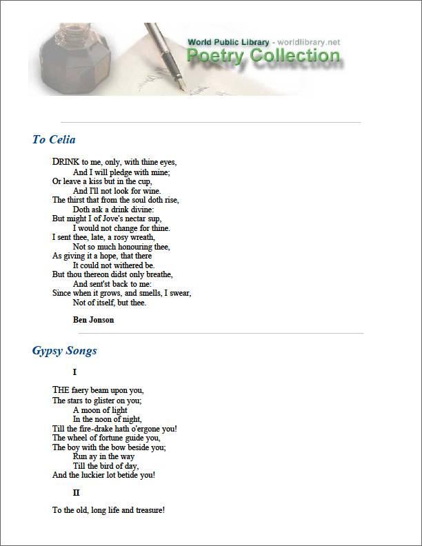 To Celia by Jonson, Ben