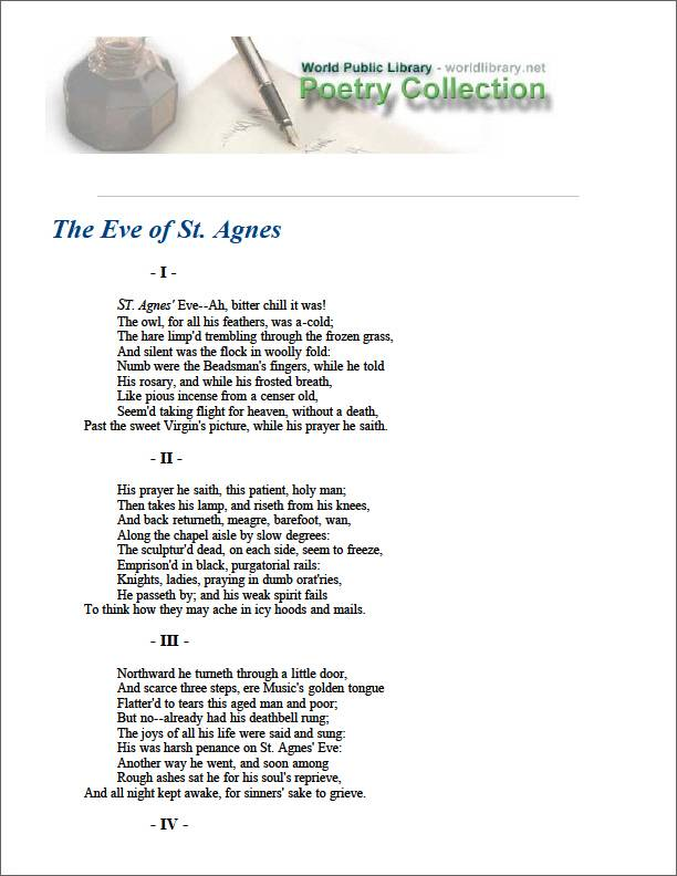 The Eve of St. Agnes by Keats, John