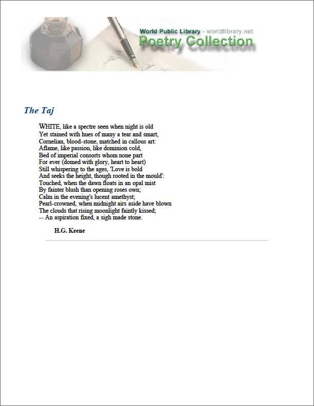 The Taj by Keene, H. G.