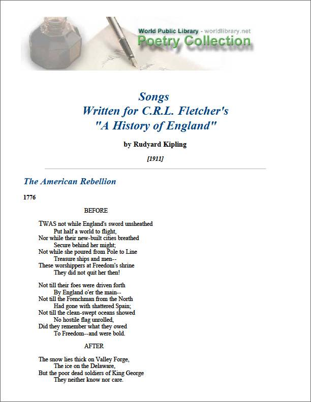 Songs Written for Crl Fletcher's a Histo... by Kipling, Rudyard