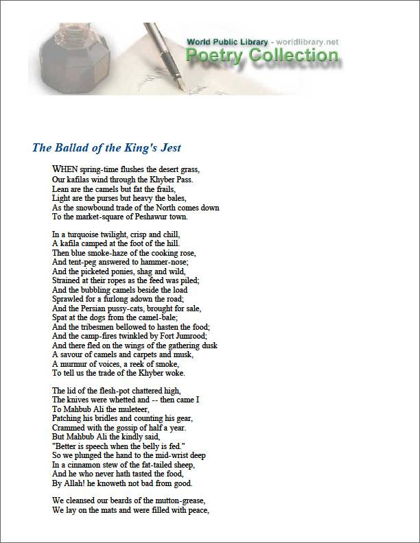 The Ballad of the King's Jest by Kipling, Rudyard