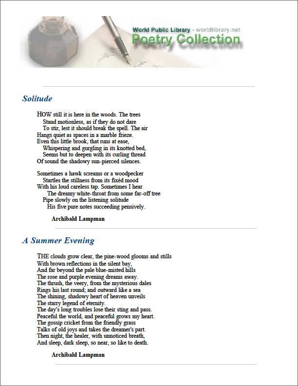 Solitude by Lampman, Archibald