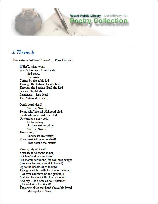 A Threnody by Lanigan, George T.