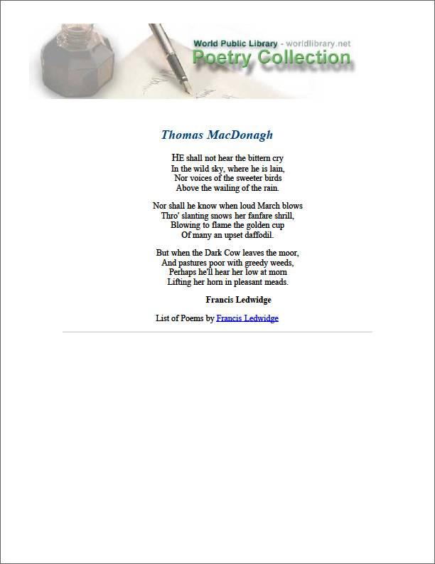 Thomas Macdonagh by Ledwidge, Francis