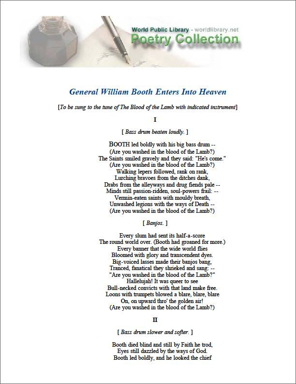 General William Booth Enters into Heaven by Lindsay, Vachel