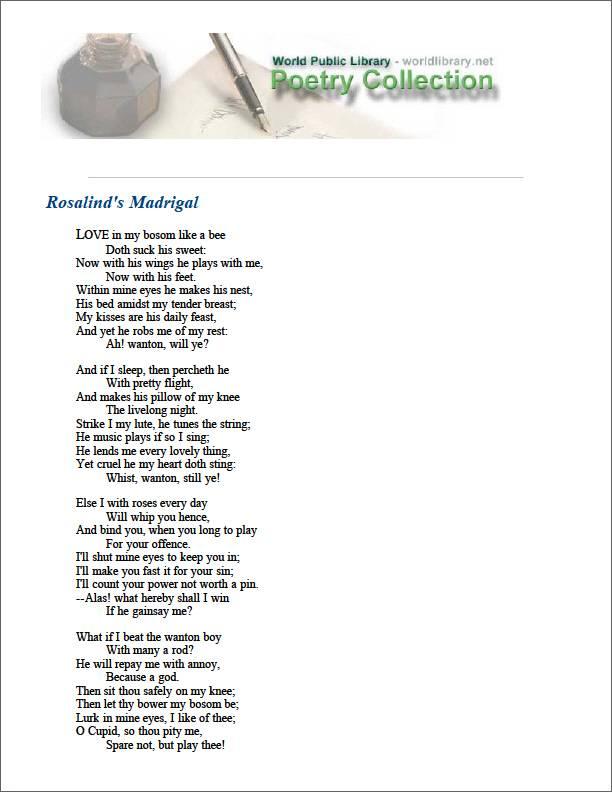 Rosalind's Madrigal by Lodge, Thomas