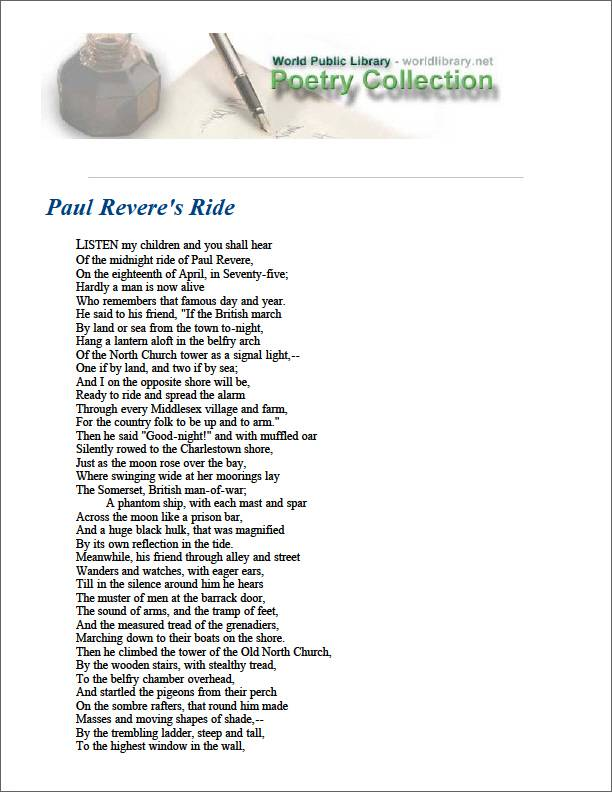 Paul Revere's Ride by Longfellow, Henry Wadsworth