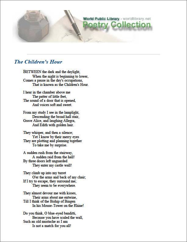 The Children's Hour by Longfellow, Henry Wadsworth
