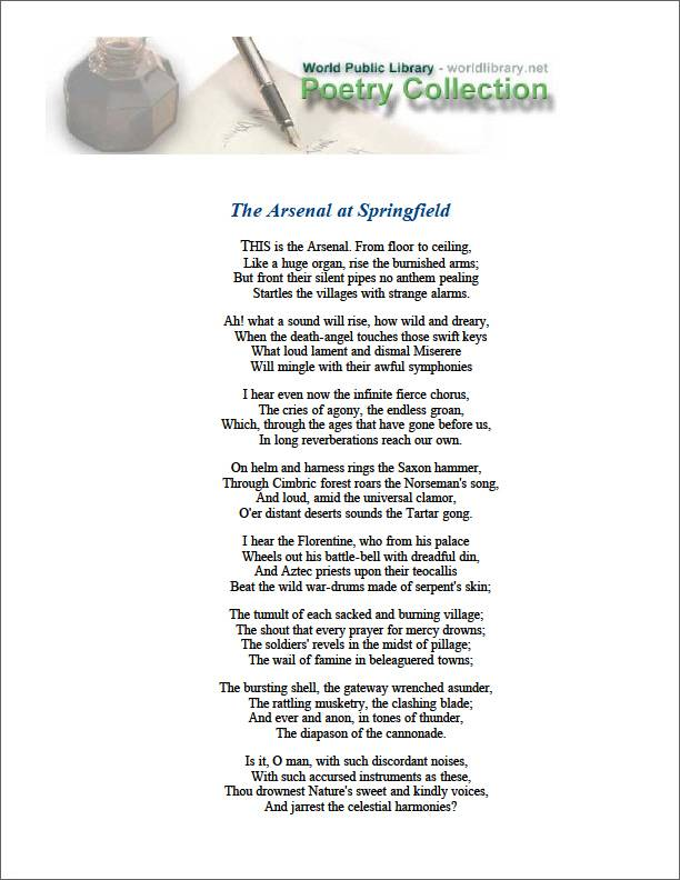 The Arsenal at Springfield by Longfellow, Henry Wadsworth