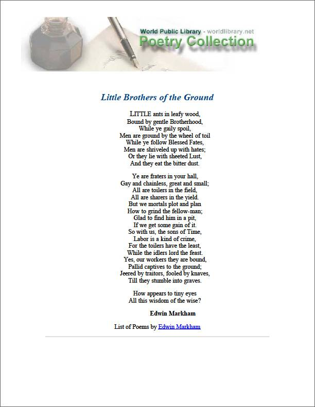 Little Brothers of the Ground by Markham, Edwin