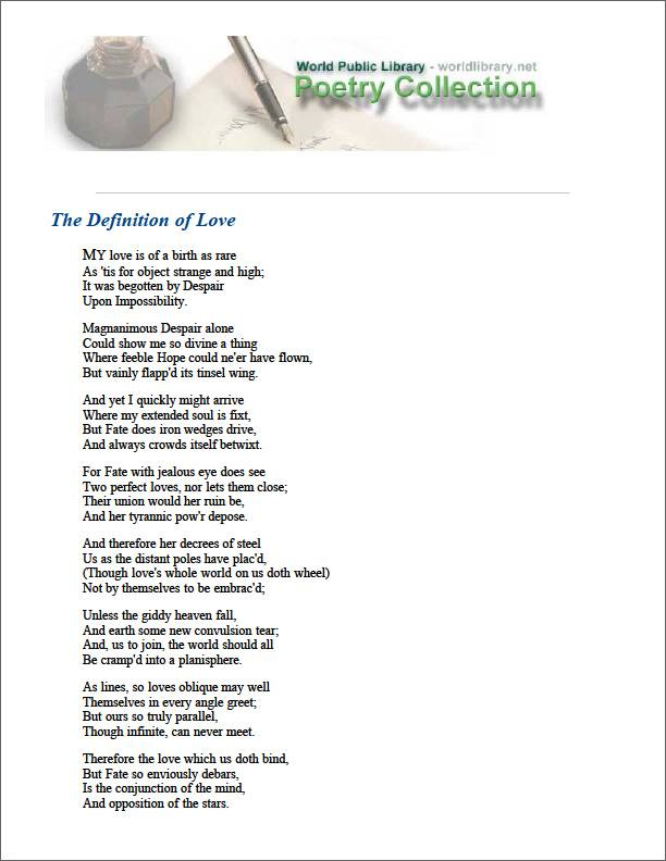 The Definition of Love by Marvell, Andrew