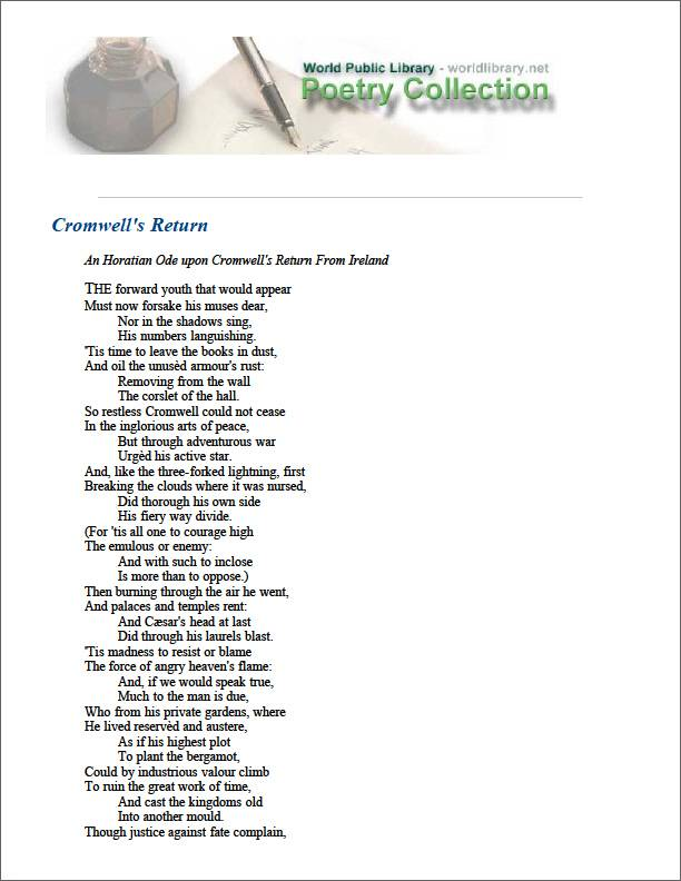 Cromwell's Return by Marvell, Andrew