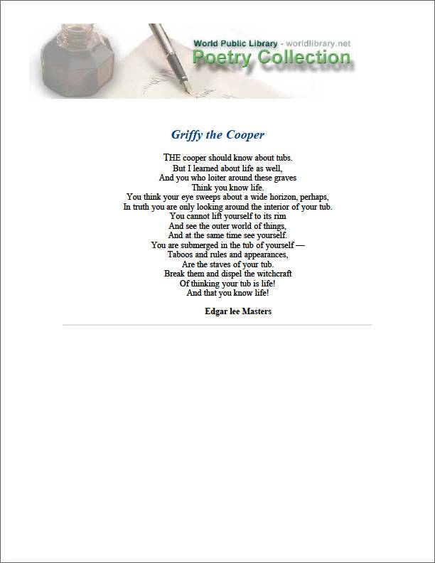 Griffy the Cooper by Masters, Edgar Lee