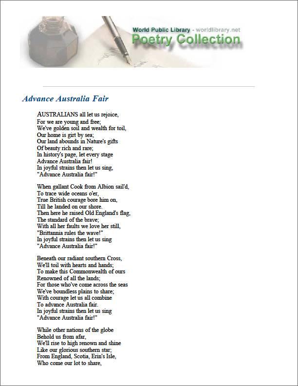 Advance Australia Fair by Mccormick, Peter Dodds