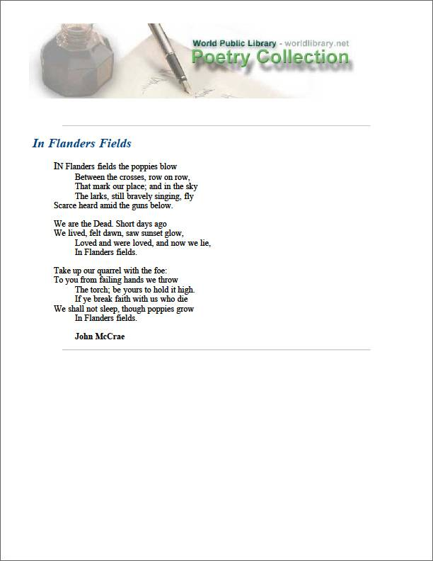 In Flanders Fields by Mccrae, John