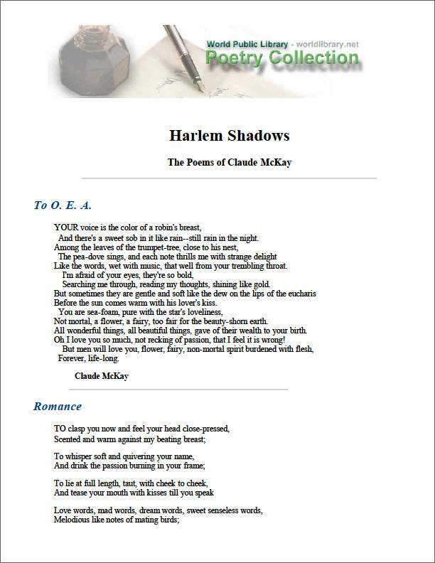 Harlem Shadows the Poems of Claude Mckay by Mckay, Claude