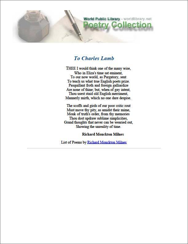 To Charles Lamb by Milnes, Richard Monckton