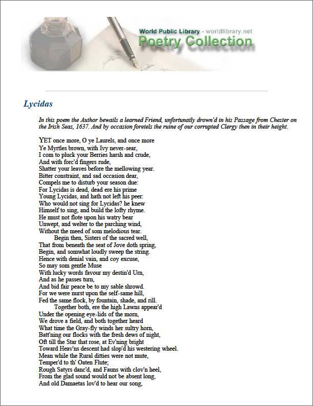 Lycidas by Milton, John