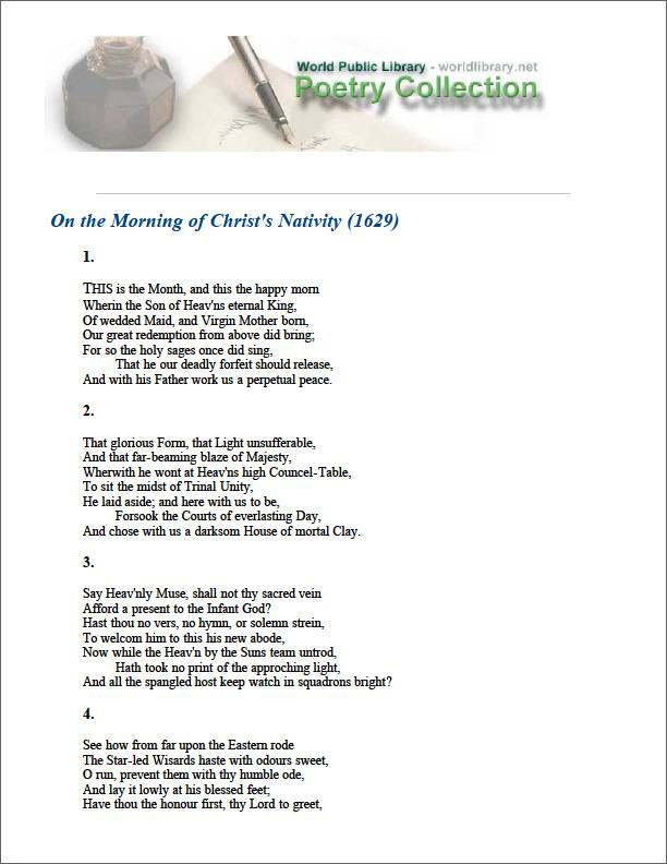 On the Morning of Christ's Nativity (162... by Milton, John