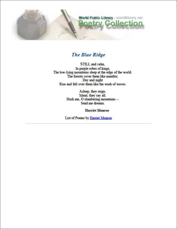 The Blue Ridge by Monroe, Harriet
