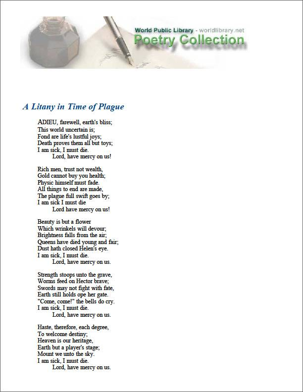 A Litany in Time of Plague by Nashe, Thomas