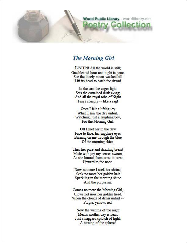 The Morning Girl by Neihardt, John G.