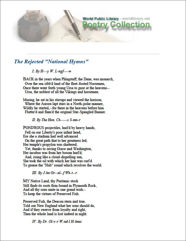 The Rejected National Hymns by Newell, R. H.