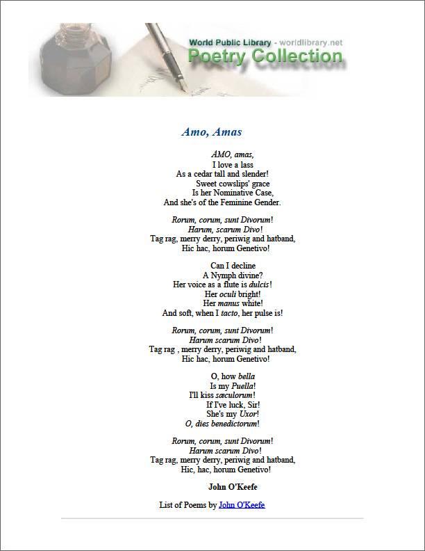 Amo, Amas by Okeefe, John