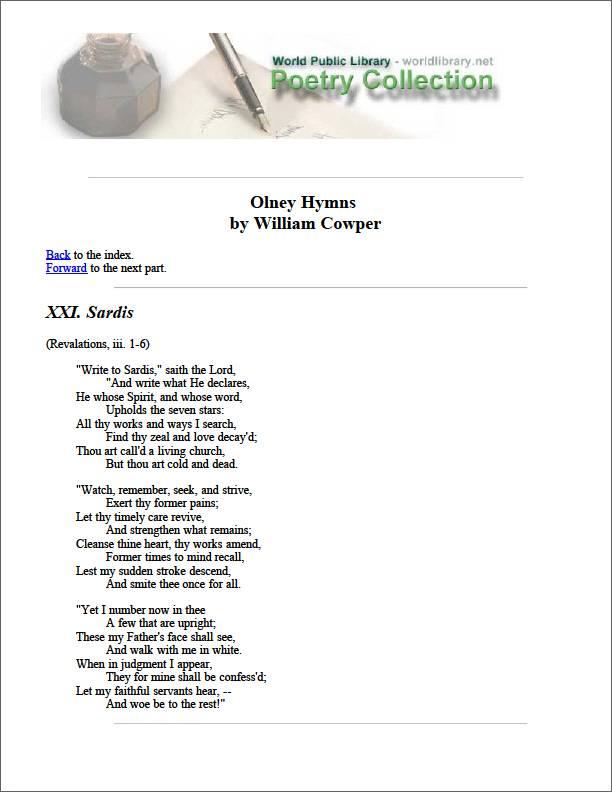 Olney Hymns by Cowper, William
