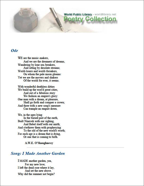 Ode by Oshaughnessy, Arthur
