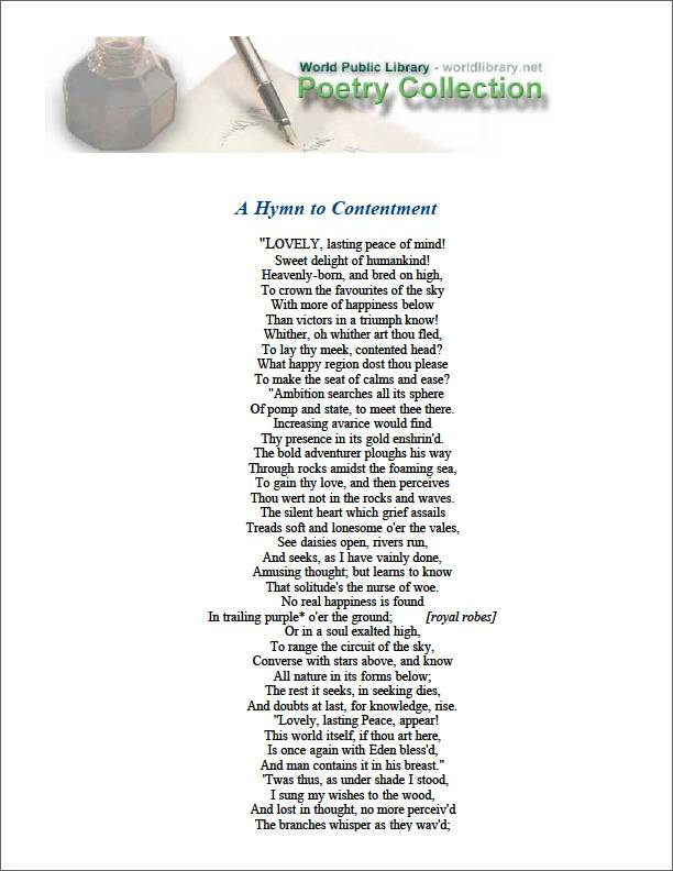A Hymn to Contentment by Parnell, Thomas