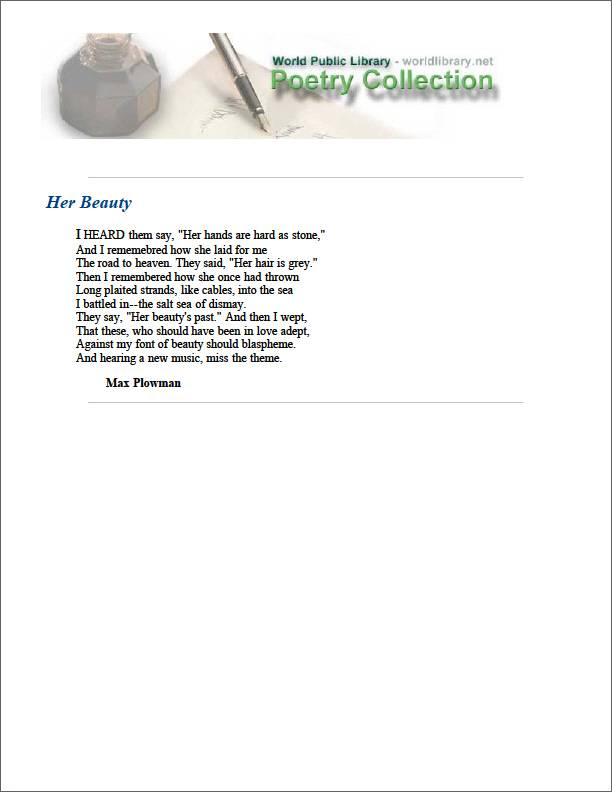 Her Beauty by Plowman, Max