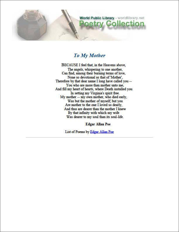 To My Mother by Poe, Edgar Allan