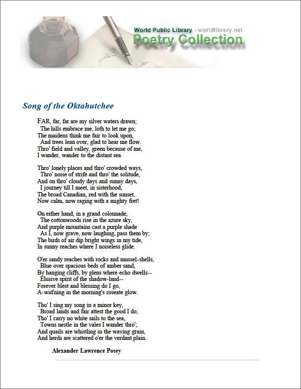 Song of the Oktahutchee by Posey, Alexander Lawrence