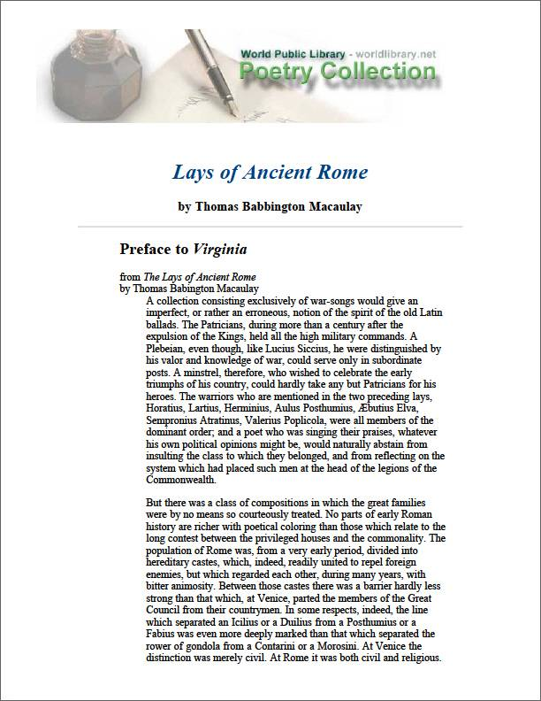 Lays of Ancient Rome by Macaulay, Thomas Babington, Baron