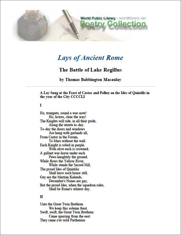 Lays of Ancient Rome the Battle of Lake ... by Macaulay, Thomas Babington, Baron