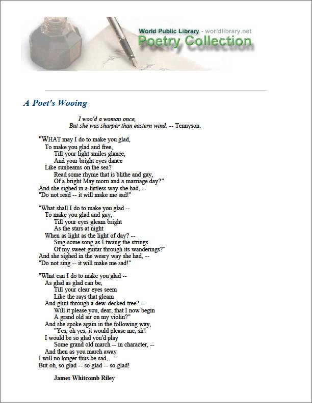 A Poet's Wooing by Riley, James Whitcomb
