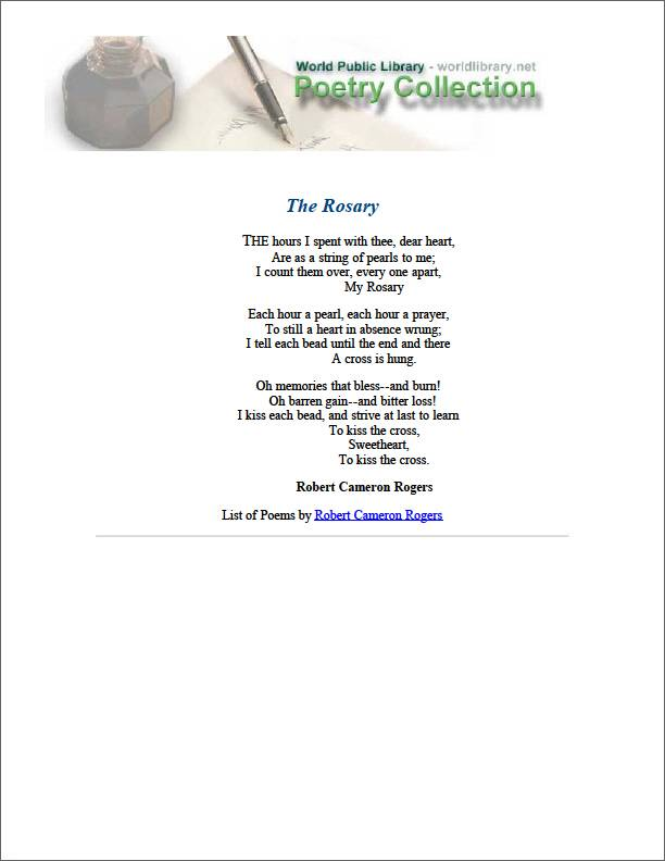 The Rosary by Rogers, Robert Cameron