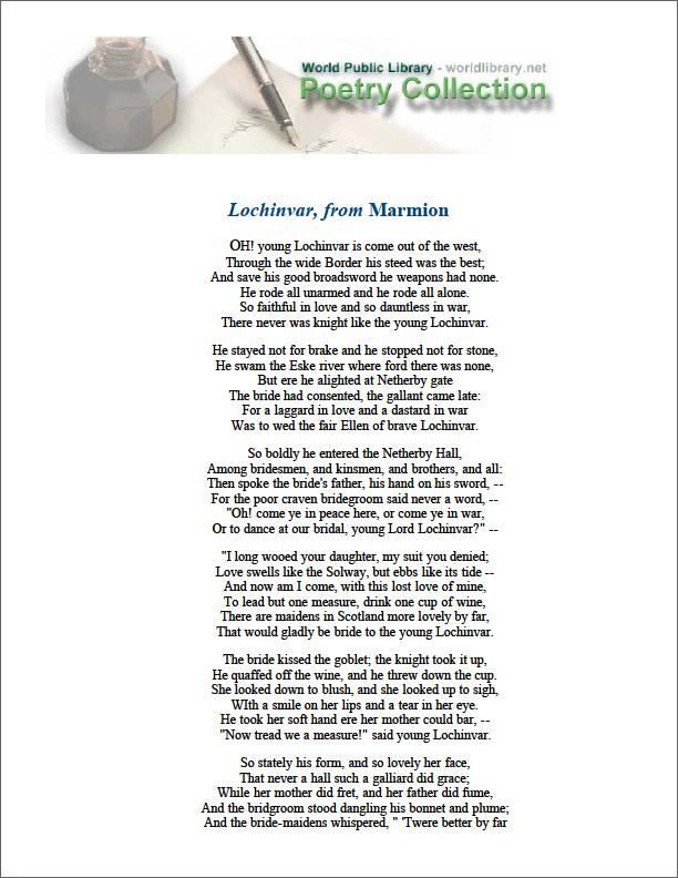 Lochinvar, From Marmion by Scott, Walter, Sir