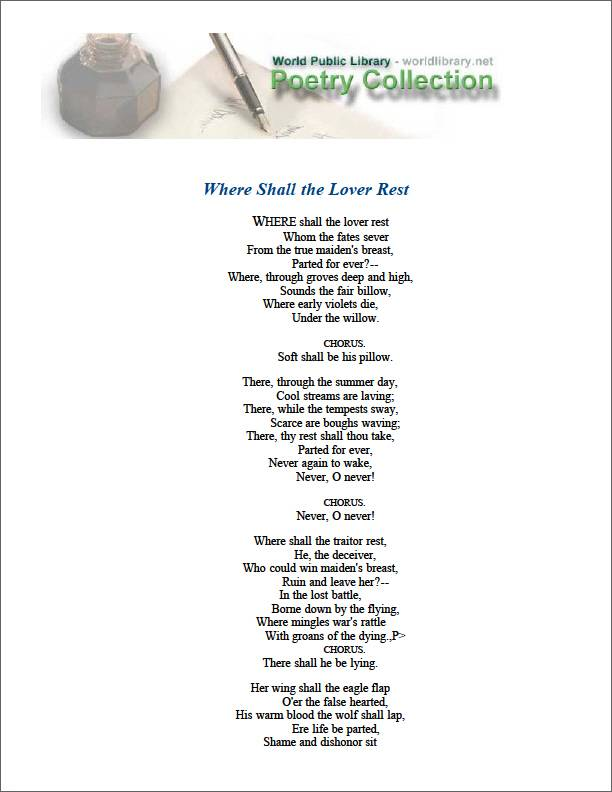 Where Shall the Lover Rest by Scott, Walter, Sir