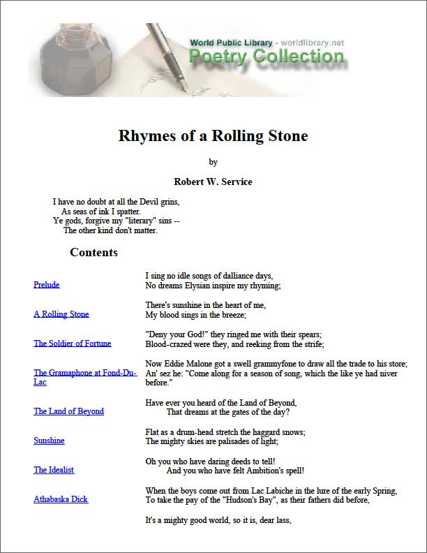 Rhymes of a Rolling Stone by Service, Robert W. (Robert William)