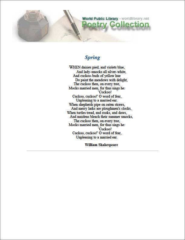 Spring by Shakespeare, William