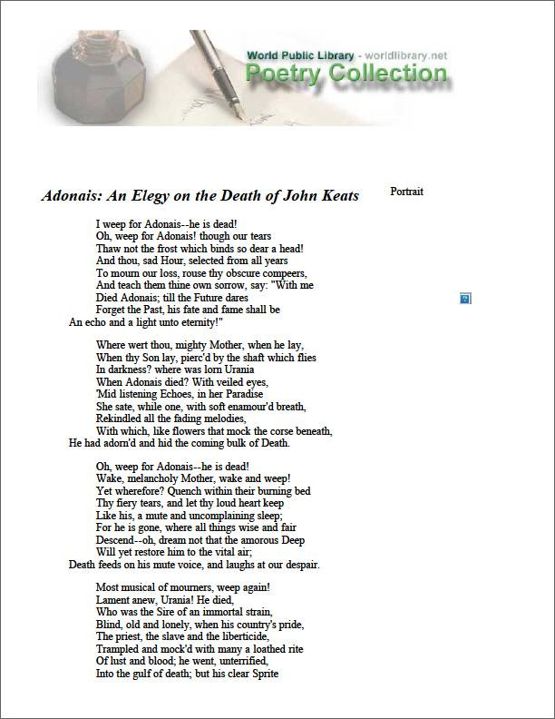 Adonais : An Elegy on the Death of John ... by Shelley, Percy Byssche