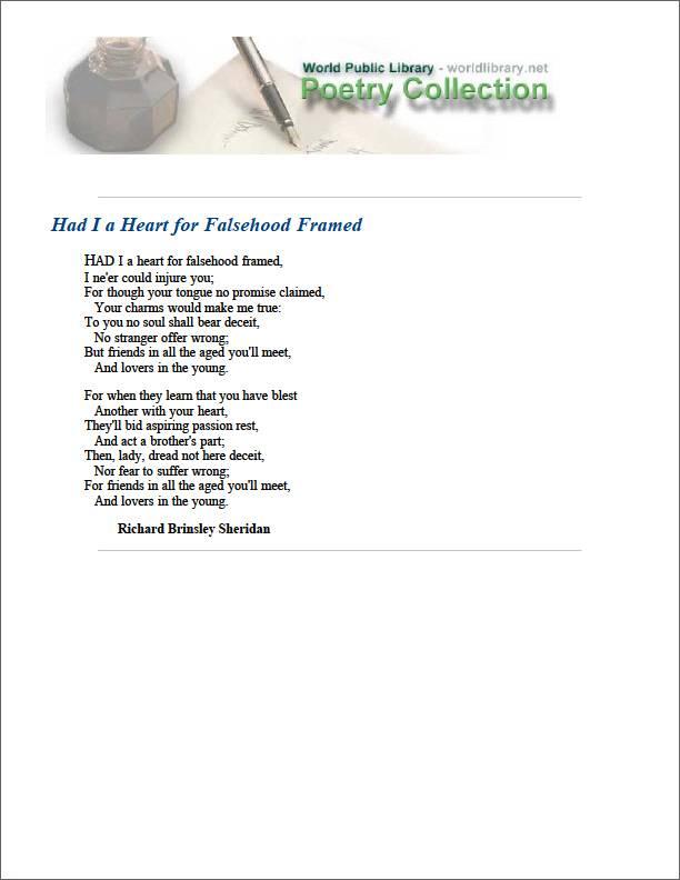 Had I a Heart for Falsehood Framed by Sheridan, Richard Brinsley