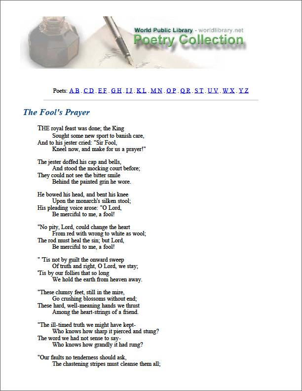 The Fool's Prayer by Sill, Edward Rowland