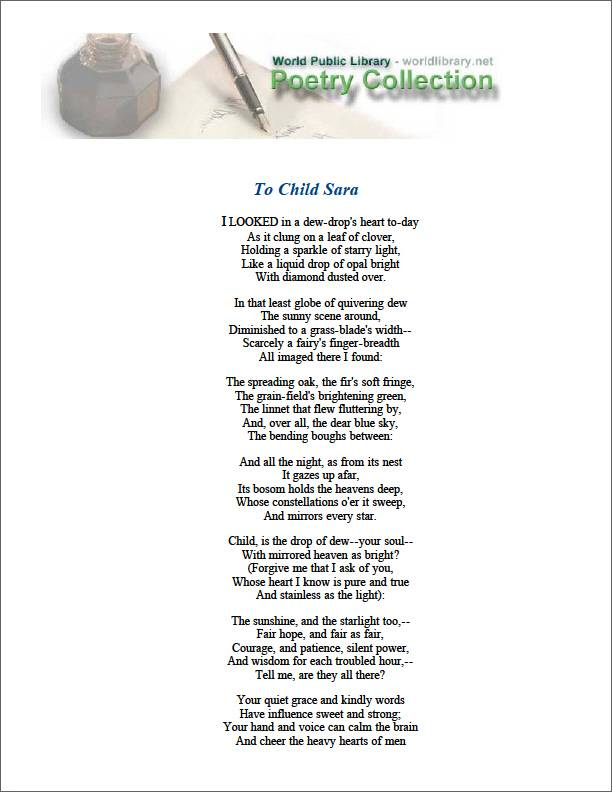 To Child Sara by Sill, Edward Rowland