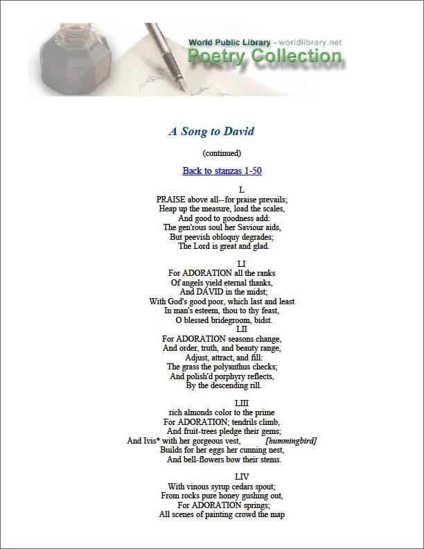 A Song to David by Smart, Christopher
